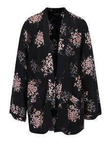 Černé lehké květované kimono Miss Selfridge