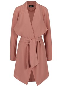 Palton roz prăfuit ONLY Runa cu cordon în talie