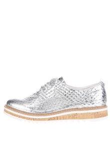 Pantofi argintii bugatti Fee cu platformă