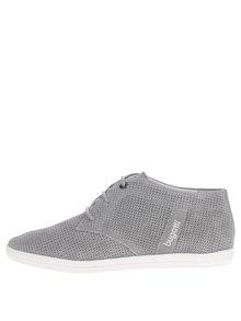 Pantofi gri înalți din piele întoarsă pentru femei bugatti Kaya Evo cu model perforat