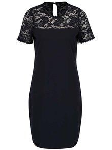 Tmavě modré šaty s krajkovým sedlem ONLY Mace