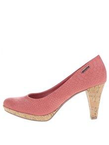 Pantofi roz cu toc bugatti Isabella ce imită pielea de șarpe