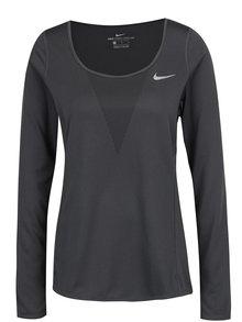 Tmavosivé dámske funkčné tričko s dlhým rukávom Nike Zonal Cooling Relay