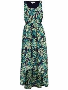 Zeleno-modré vzorované šaty s prodlouženým zadním dílem Apricot