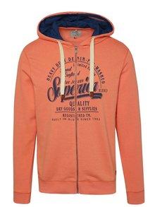 Oranžová mikina na zip s potiskem Blend