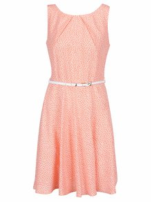Meruňkové puntíkované šaty s páskem Apricot
