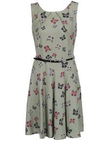Zelené šaty s páskem a motivem motýlů Apricot