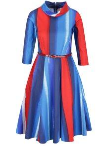 Červeno-modré vzorované šaty s 3/4 rukávem a páskem Closet