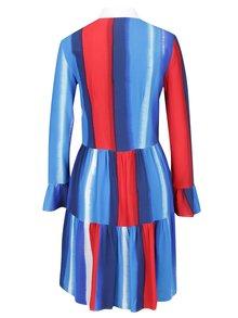 Červeno-modré vzorované šaty s gombíkmi a golierom Closet