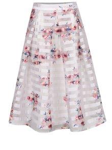 Krémová šifonová květovaná midi sukně Apricot