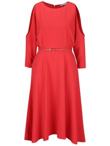 Rochie roșie  Closet cu decupaj pe umeri