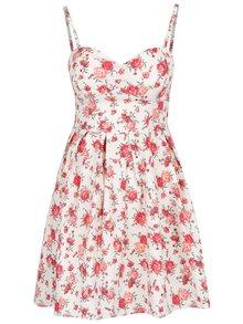 Krémové kvetované šaty s odnímateľnými ramienkami Apricot