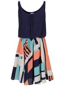 Tmavě modré vzorované šaty s volným topem Apricot