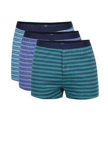 Sada troch pruhovaných boxeriek v modrej a zelenej farbe M&Co