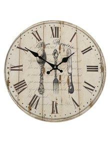 Hnedo-béžové drevené hodiny s motívom príboru Dakls