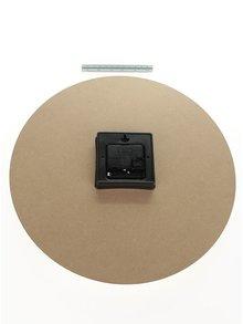 Ceas de perete maro & bej Dakls din lemn cu print