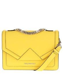 Žltá kožená crossbody kabelka s detailmi v zlatej farbe KARL LAGERFELD