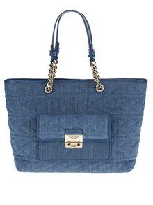 Modrý prošívaný shopper s koženými detaily KARL LAGERFELD