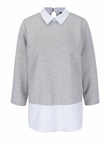 Sivý top s všitou pruhovanou košeľou Haily's Sandra