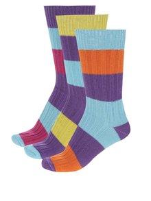 Sada tří pánských pruhovaných ponožek v modro-fialové barvě Oddsocks Rocky