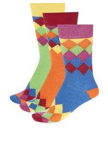 Sada tří pánských vzorovaných ponožek v modré, oranžové a zelené barvě Oddsocks Charlie