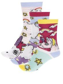 Súprava troch dievčenských ponožiek s jednorožcami Oddsocks Unicorn