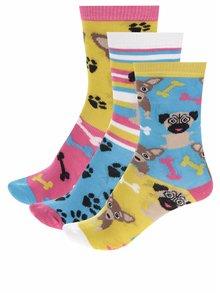 Set de 3 șosete multicolore Oddsocks Pugs cu model