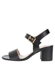 Čierne kožené sandále na podpätku Högl