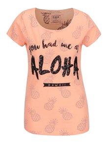 Oranžové dámské tričko s motivem ananasů Cars Aloha