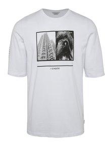 Tricou alb Jack & Jones Era din bumbac cu print