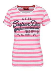Růžovo-bílé dámské pruhované tričko Superdry