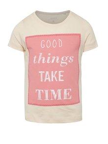 Svetloružové dievčenské tričko s potlačou name it Veeny