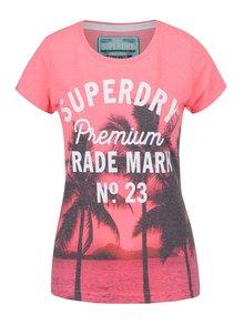 Ružové dámske tričko s tropickou potlačou Superdry