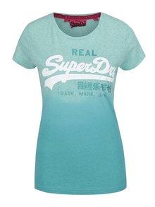 Tyrkysové dámske melírované tričko s potlačou Superdry