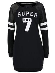 Rochie neagră Superdry cu print și mâneci lungi