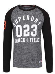 Bluză gri melanj & negru Superdry cu print