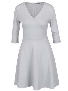 Světle šedé šaty s překládaným výstřihem ZOOT