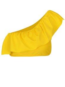 Žltý horný diel plaviek s volánom a odhaleným ramenom VERO MODA Ella