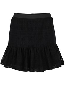 Čierna čipkovaná sukňa s volánom Noisy May Anna