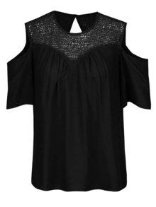 Černá halenka s průstřihy na ramenou Vero Moda Lulu