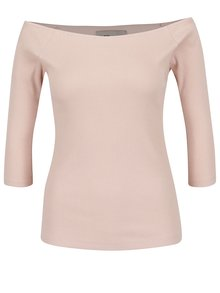 Bluză roz pal din jerseu subțire VERO MODA Bal cu decolteu pe umeri