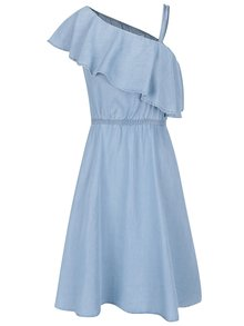 Modré rifľové šaty s volánom a odhaleným ramenom Noisy May Nesli