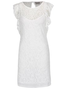 Rochie albă midi VERO MODA Thea din dantelă