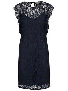 Tmavě modré krajkové šaty VERO MODA Thea