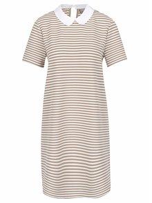 Béžovo-bílé pruhované šaty s límečkem VERO MODA Kay