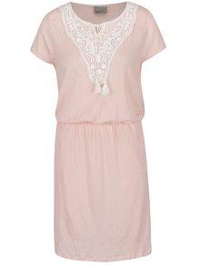 Růžové šaty s krajkovými detaily VERO MODA Matea