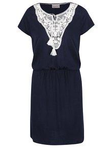 Tmavě modré šaty s krajkovými detaily VERO MODA Matea