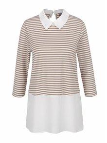 Bluză crem&bej Vero Moda Kacy cu aspect 2în1 și guler clasic