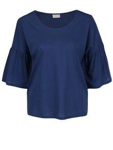 Bluză albastru închis VILA Filila din bumbac cu mâneci fluture trei sferturi