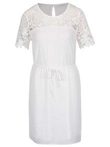 Krémové šaty s čipkovaným sedlom a rukávmi VILA Melli
